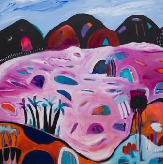 """Pink Lakes"" Original canvas size - 910mmx910mm Acrylic and ink"
